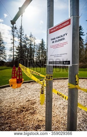 Surrey, Canada - Mar 29, 2020: Playground Closed During Covid-19 Pandemic