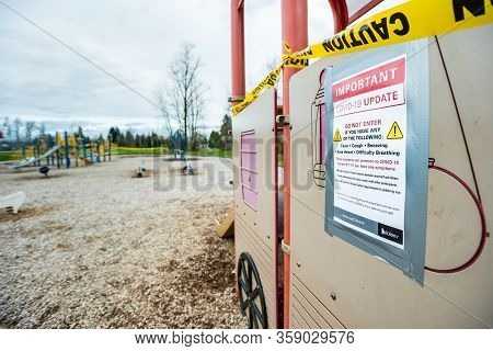 Surrey, Canada - Mar 29, 2020: Playground Slide Closed Due To Covid-19 Pandemic
