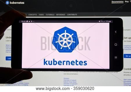 Montreal, Canada - March 08, 2020: Kubernetes Mobile App And Logo On Screen. Kubernetes Is Open Sour