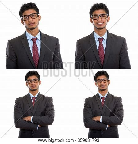 Collage Of Happy Young Indian Businessman Wearing Eyeglasses With Arms Crossed