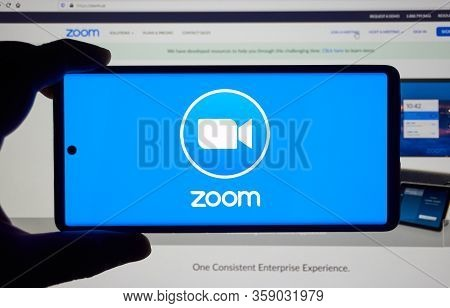 Montreal, Canada - March 22, 2020: Zoom App And Logo On Screen. Zoom Communications Is Remote Confer