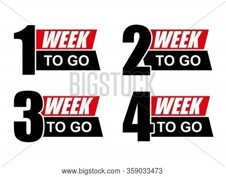 Number 1,2,3,4 Of Week To Go. Collection Badges Sale, Landing Page, Banner.vector Illustration. Coun