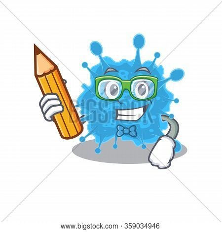 A Brainy Student Andecovirus Cartoon Character With Pencil And Glasses