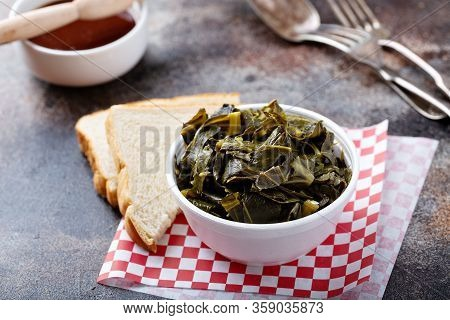 Cooked Collard Greens In A Foam Bowl, Southern Barbeque Side