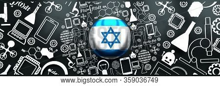 Innovation And Technology Concept. Circle Frame With Thin Line Icons. Flag Of The Israel. 3d Renderi