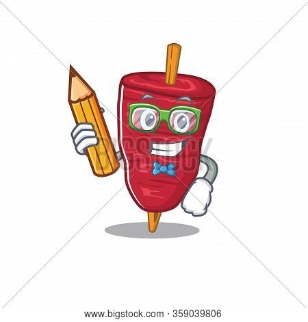 A Brainy Student Doner Kebab Cartoon Character With Pencil And Glasses
