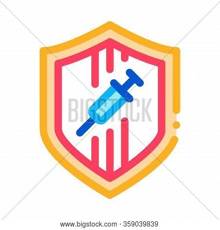 Injection Protection Icon Vector. Injection Protection Sign. Color Contour Symbol Illustration