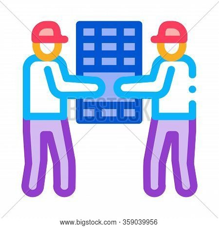 Solar Installation Workers Icon Vector. Solar Installation Workers Sign. Color Contour Symbol Illust