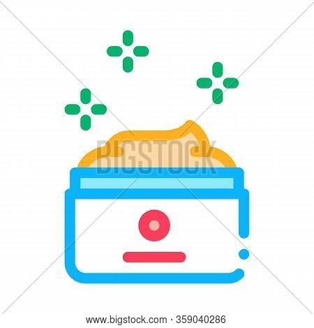 Effective Cream In Jar Icon Vector. Effective Cream In Jar Sign. Color Contour Symbol Illustration