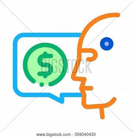 Money Issue Of Robot Icon Vector. Money Issue Of Robot Sign. Color Contour Symbol Illustration