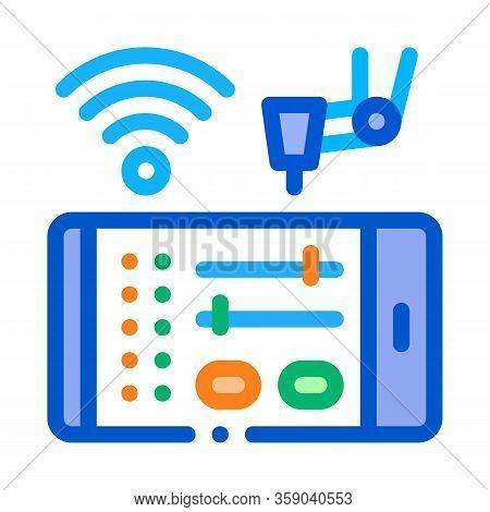 Telephone Settings Via Wi-fi Icon Vector. Telephone Settings Via Wi-fi Sign. Color Contour Symbol Il