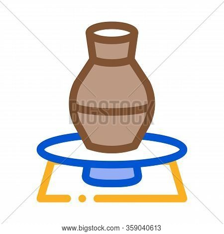 Vase On Pottery Wheel Icon Vector. Vase On Pottery Wheel Sign. Color Contour Symbol Illustration