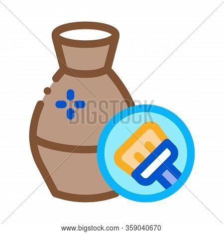 Clay Vase Cleansing Icon Vector. Clay Vase Cleansing Sign. Color Contour Symbol Illustration