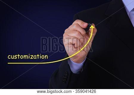 Businessman Draw Growing Line Symbolize Growing Customization