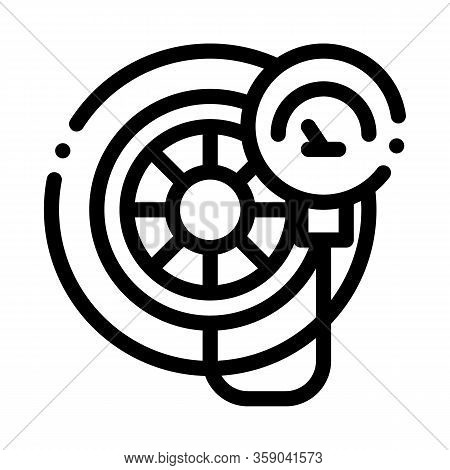 Tire Inflation Icon Vector. Tire Inflation Sign. Isolated Contour Symbol Illustration