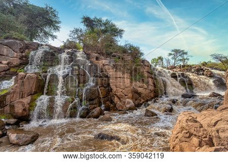 Small Waterfall In Awash National Park. Waterfalls In Awash Wildlife Reserve In South Of Ethiopia. W