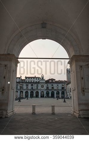 Brescia, Italy - August 1 2018: The View From Arches Of Comune Di Brescia On Piazza Della Loggia, Br