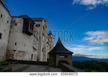 Medieval Hohensalzburg Castle (festung Hohensalzburg) In Morning Fog, Salzburger Land, Austria.