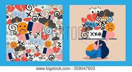 Illustration And Seamless Pattern With Cyberbullying. Online Pressure. Posting Sexual Remarks, Or Pe