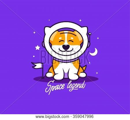 A Little Dog, Logo With Text Space Legend. Funny Corgi Astronaut Character