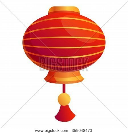 Silk Chinese Lantern Icon. Cartoon Of Silk Chinese Lantern Vector Icon For Web Design Isolated On Wh