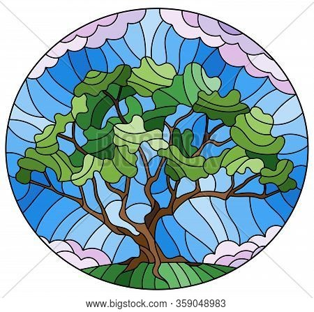 Illustration In Stained Glass Style With Green Tree On Sky Background,oval Image