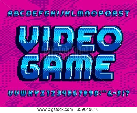 Video Game Alphabet Font. Retro Pixel Letters And Numbers. Pixel Background. 80s Arcade Game Typescr