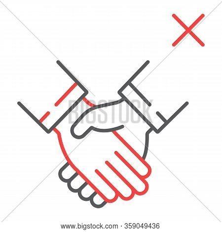 Don T Handshake Line Icon, Coronavirus And Microorganism, Contagion Handshake Sign, Vector Graphics,