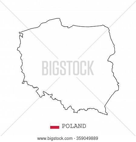 Poland Map Line, Linear Thin Vector. Poland Simple Map And Flag.
