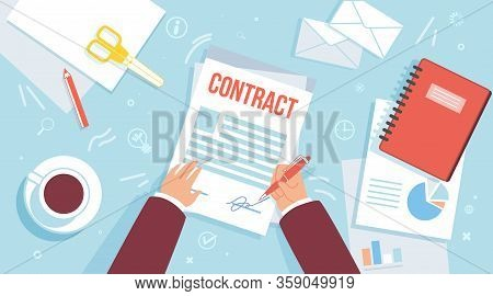 Singing Business Contract, Making Official Agreement Or Statement, Bank Loan Approval, Getting Insur