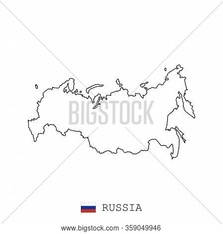 Russia, Russian Federation Map Line, Linear Thin Vector. Russia, Russian Federation Simple Map And F