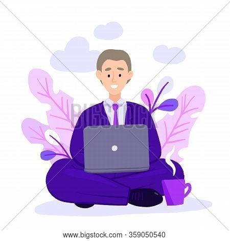 Young Adult Man Working At Home Vector Concept Illustration. Freelancer Character Working From Home