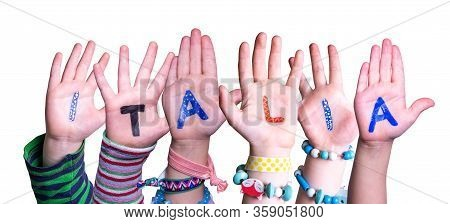 Children Hands Building Word Italia Means Italy, Isolated Background