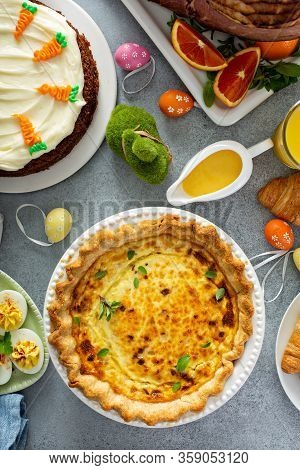 Quiche Lorraine With All The Traditional Dishes For Easter Brunch