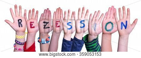 Children Hands Building Word Rezession Means Recession, Isolated Background