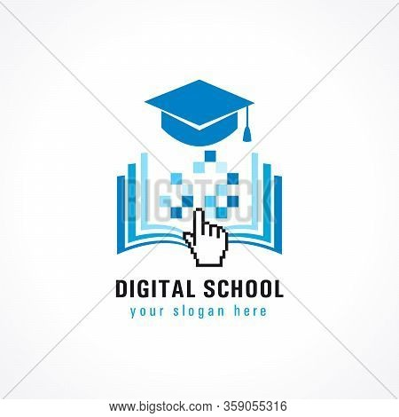 Digital School Education Cursor Logo. Online Educational Vector Illustration With Pixel Book And Aca