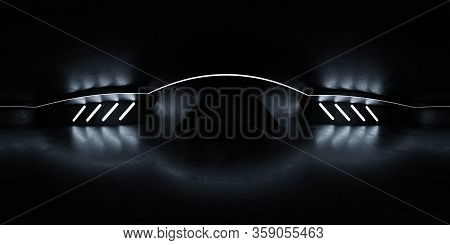 Full 360 Degree Equirectangular Panorama Hdri Of Dark Industrial Grunge Building Interior 3d Render