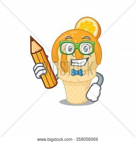 A Brainy Student Orange Ice Cream Cartoon Character With Pencil And Glasses