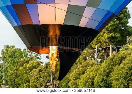Detail Of The Flame Of A Colored Hot Air Balloon