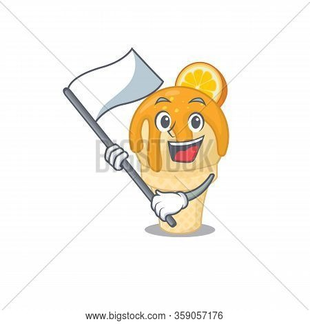 A Nationalistic Orange Ice Cream Mascot Character Design With Flag