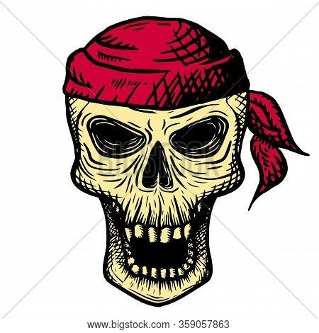 Hand Drawn Skull Of A Dead Man In A Red Bandana, On A White Background. Vector Illustration
