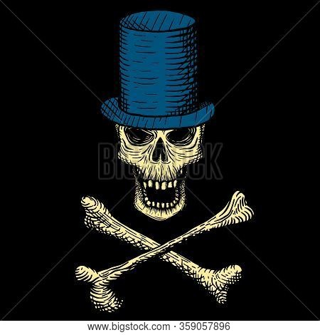 Hand Drawn Skull Of A Dead Man In A Blue Top Hat, With Crossbones, On A Black Background. Vector Ill