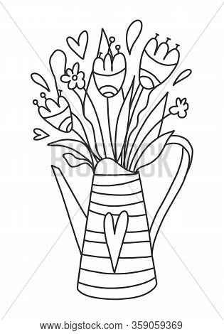 Vector Coloring Book For Adults And Children. Watering Can With Wildflowers In A Cute Style. Spring