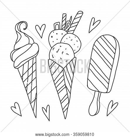 Vector Coloring Book For Adults And Children. Three Ice Creams. Ice Cream Cone, Waffle Cone With Bal