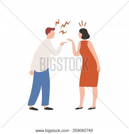 Cartoon Couple Scream Each Other Having Conflict Vector Flat Illustration. Quarrel Of Annoyed Colorf
