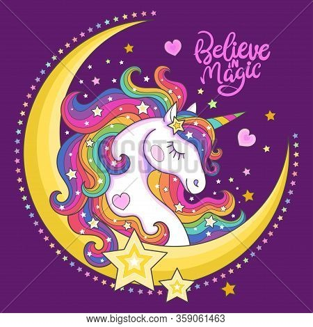 Beautiful, White Unicorn With Stars And The Moon. Picture For Children. Vector