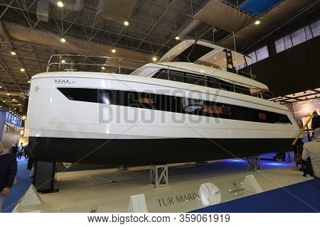 Istanbul, Turkey - February 22, 2020: Deha Xl Boat On Display At Cnr Eurasia Boat Show In Cnr Expo C