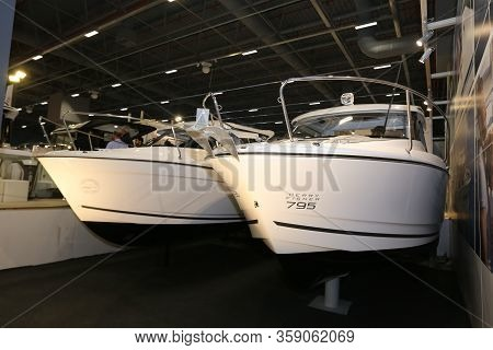Istanbul, Turkey - February 22, 2020: Boats On Display At Cnr Eurasia Boat Show In Cnr Expo Center