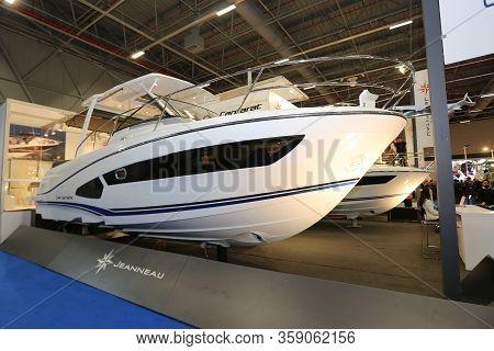Istanbul, Turkey - February 22, 2020: Cap Camarat Boat On Display At Cnr Eurasia Boat Show In Cnr Ex