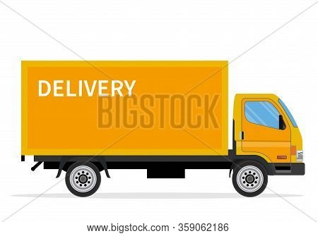 Delivery Truck Van Isolated On White Background. Online Delivery Service Concept. Delivery Home And
